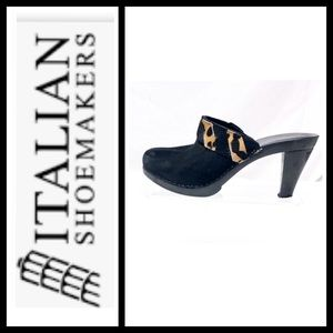 Italian Shoemakers Black Suede Mule Heel